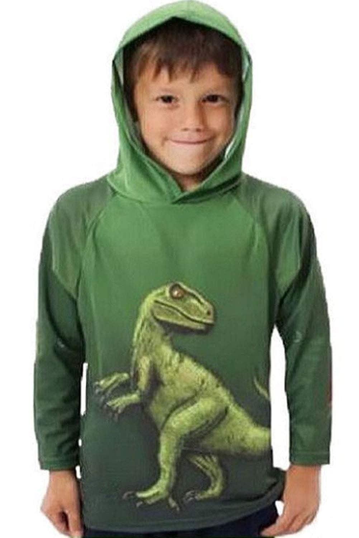 Kinder Pullover Sweatshirt Jungen Mädchen Kapuzenpullover Dinosaurier Drucken mit Kapuze Langarm Sweat-Shirt