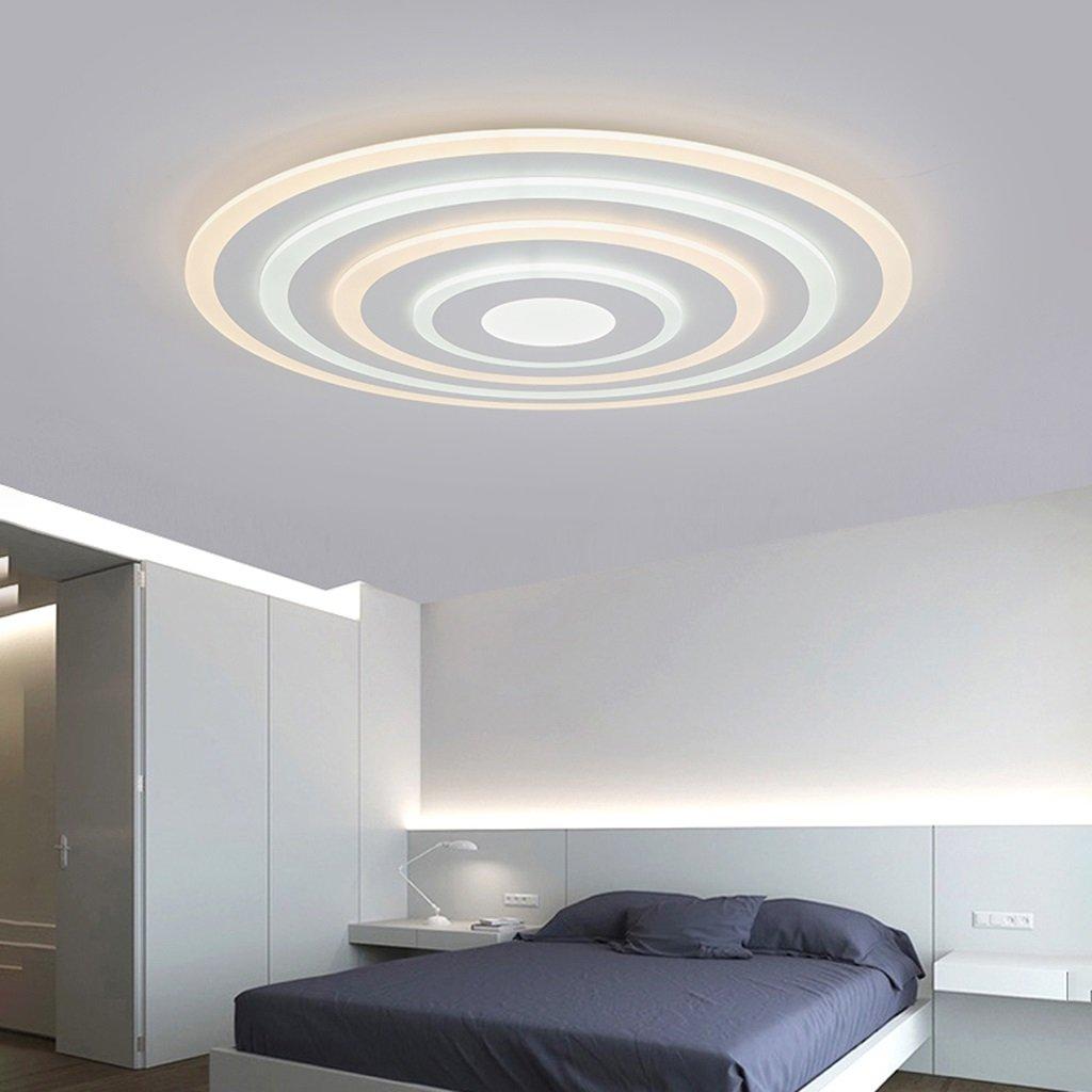 Mingteng Plafones LED, luces tricolores, delgadas, luces de techo redondas, sala de estar moderna Dormitorio sala de estudio iluminación del restaurante, 40 cm, 3 anillos