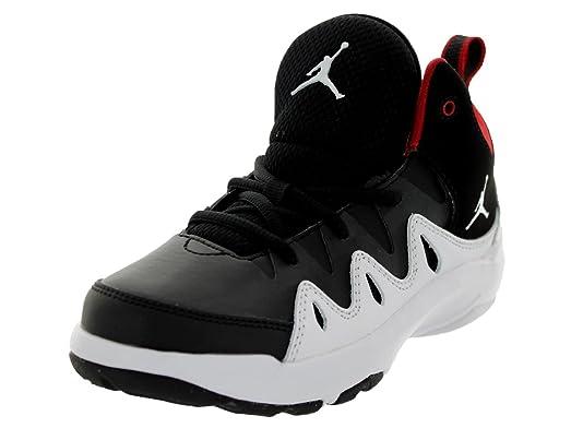 Nike Jordan Kids Jordan Prime Mania BT Black/White/Gym Red Basketball Shoe  1.5