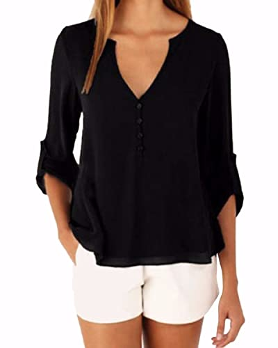 ZANZEA Camiseta Blusa Casual Elegante Oficina Chiffón Cuello Fisura V Mangas Largas para Mujer Negro...