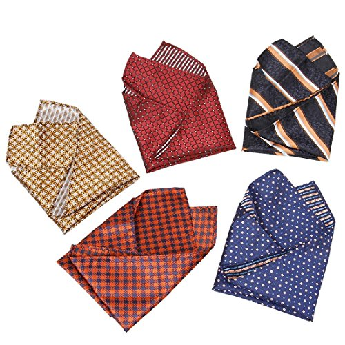 BMC Mens 5 pc Mixed Pattern Large 12 inch Pocket Square Fashion Handkerchief Accessories - Set 5: Dinner Party
