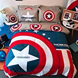 Casa 100% Cotton Kids Bedding Set Boys Captain America Duvet cover and Pillow case and Fitted sheet,Boys,3 Pieces,Twin