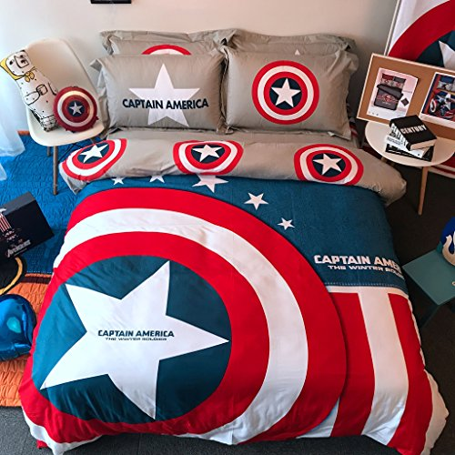 Casa 100% Cotton Kids Bedding Set Boys Captain America Duvet cover and Pillow cases and Flat sheet,Boys,4 Pieces,Queen