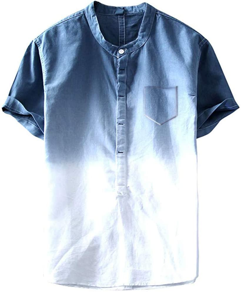 Mens Dye Short Sleeve Henley Shirt Cotton Linen Beach Yoga Loose Fit Henleys Tops