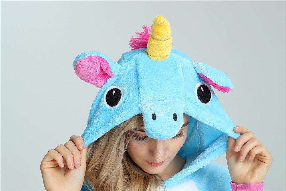 Kenmont Unicornio Juguetes y Juegos Traje Disfraz Animal Ropa de Dormir Cosplay Disfraces Pijamas para Adulto Niños (M: 158-168CM, Azul): Amazon.es: ...