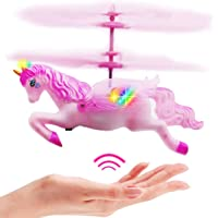 litytlen Flying Unicorn Toys Flying Fairy Toys Pink Mini Flying Helicopter Unicorn Toy Gifts for Little Girls 8 9 10-14 Years Old Up Birthday Xmas Party Supplies(Flying Unicorn)
