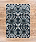 Well Woven Siq Tiles Blue Oriental Geometric Medallion Contemporary Casual Area Rug 5x7 (5'3