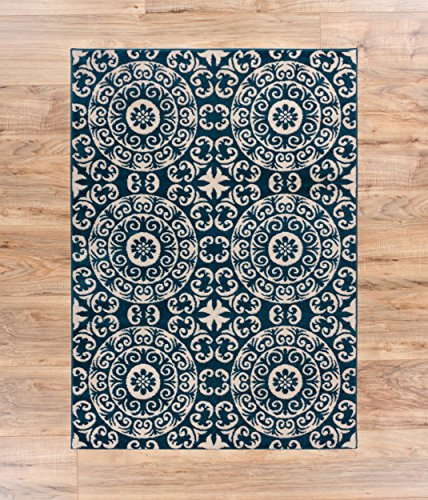 Cheap Well Woven Siq Tiles Blue Oriental Geometric Medallion Contemporary Casual Area Rug 5×7 (5'3″ x 7'3″) Easy Clean Stain Fade Resistant No Shed Modern Traditional Moroccan Persian Living Dining Room