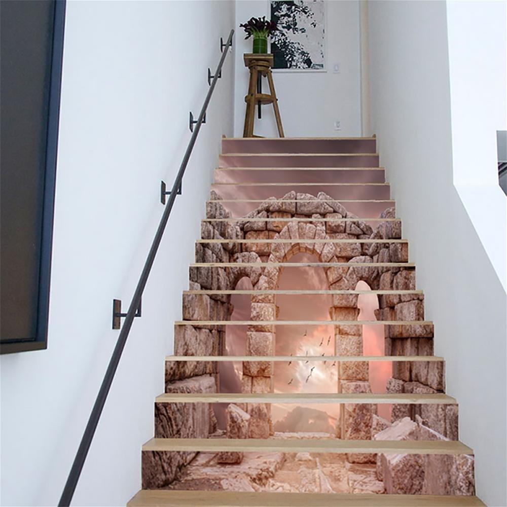 MIYI Treppen-Aufkleber 3D DIY Refurbished Retro Steinsäulen Fliesenaufkleber Entfernbar Wasserdicht Aufkleber Haus Dekoration