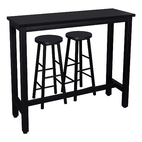 Tavolino Alto Da Bar Con Sgabelli.Woltu Set Tavolo Da Bar Con 2 Sgabelli Alti Arredo Mobili