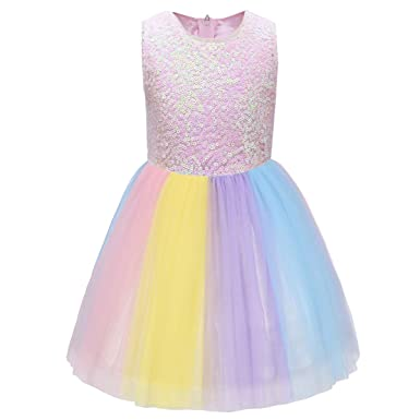2df8e2279dc104 FYMNSI Einhorn Kleid Kinder Mädchen Pailletten Tütü Tüll Regenbogen Rock  Prinzessin Geburtstag Partykleid Festkleid Abendkleid Hochzeit