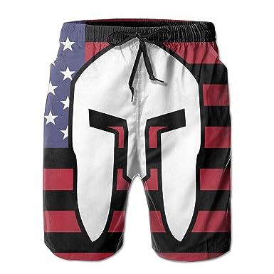131a65cc6c American Flag Spartan Mens Board Shorts Beach Swim Trunks Relaxed-Fit  Trunks Black