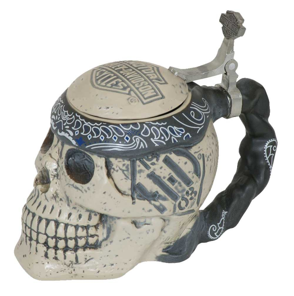 Harley-Davidson Bar & Shield Sculpted Ceramic Skull Stein, 24 oz. HDL-18606
