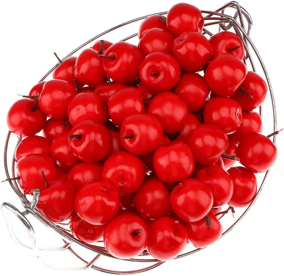 Gresorth 100pcs Artificial Red Apples Fake Fruit Apple Home Party Christmas Tree DIY Decoration Model