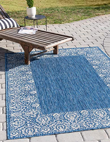 Unique Loom Outdoor Border Collection Traditional Floral Border Transitional Indoor and Outdoor Flatweave Blue  Area Rug (8' 0 x 10' 0)