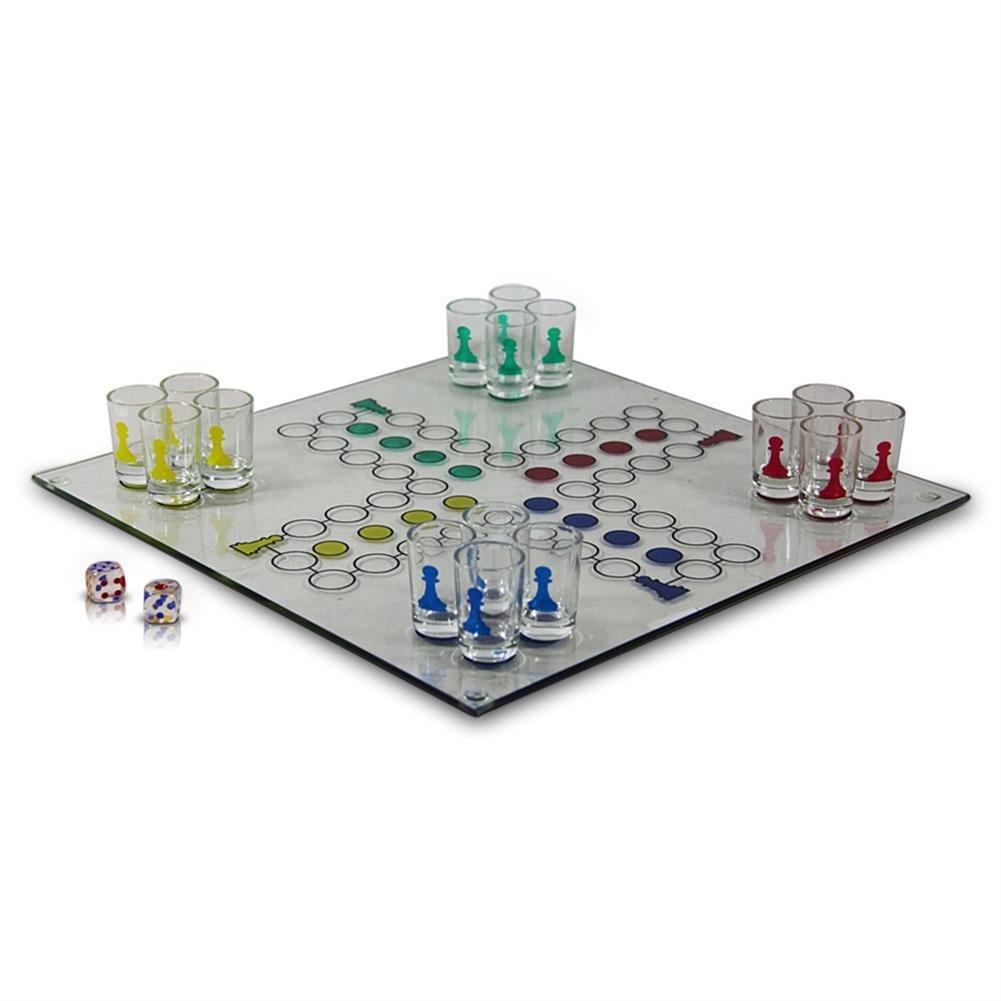 Würfel Trinkspiel / Saufspiel aus Glas - Drinking Ludo Relaxdays