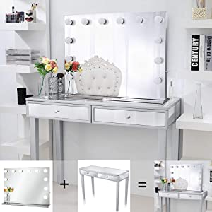 Chende Hollywood Lighted Makeup Vanity Set for Bedroom, Frameless Tabletop Vanity Mirror with Lights and Mirrored Desk with 2 Drawers for Makeup
