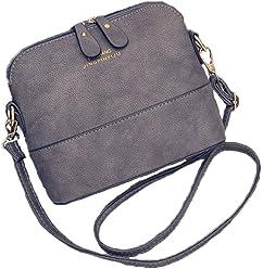 Jiaruo Small Vintage Ladies Leather Crossbody Shoulder Bag shell bags  Handbags 27d82674fd69b