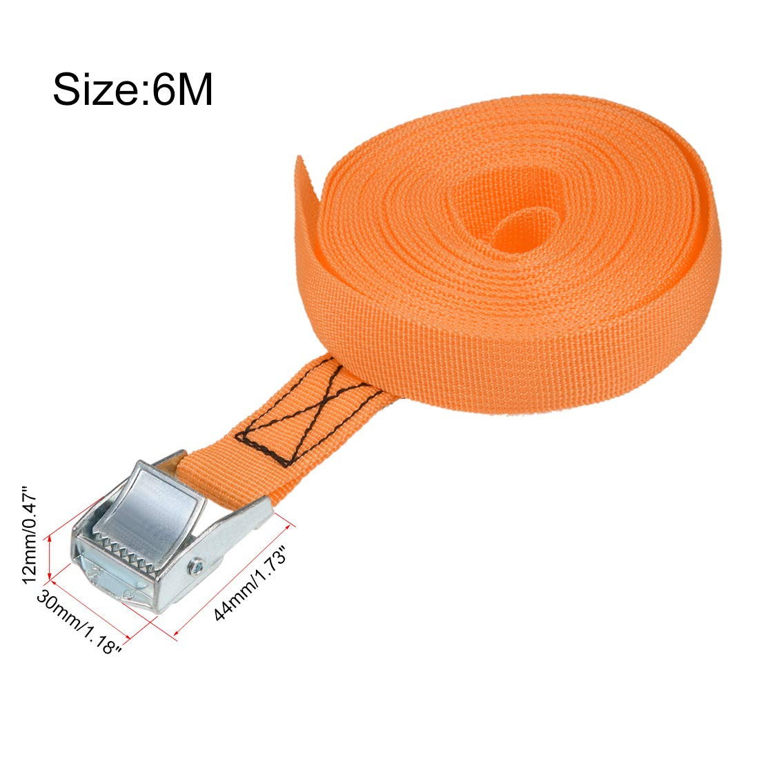 sourcing map 7 Meterx25mm Zurrgurt Cargo Binden mit Cam Schnalle 250Kg Arbeitslast Gelb