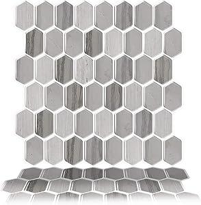 Tic Tac Tiles Peel and Stick Self Adhesive Removable Stick On Kitchen Backsplash Bathroom 3D Wall Tiles in Honeycomb Design (Mocha)