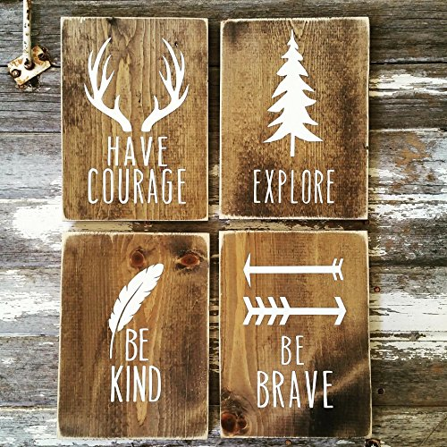 Woodland Nursery Decor | Rustic Decor | Cottage Home Decor | Wood Sign | Country Home | Wall Hanging | Childrens Room Decor | Have Courage Explore Be Kind Be Brave