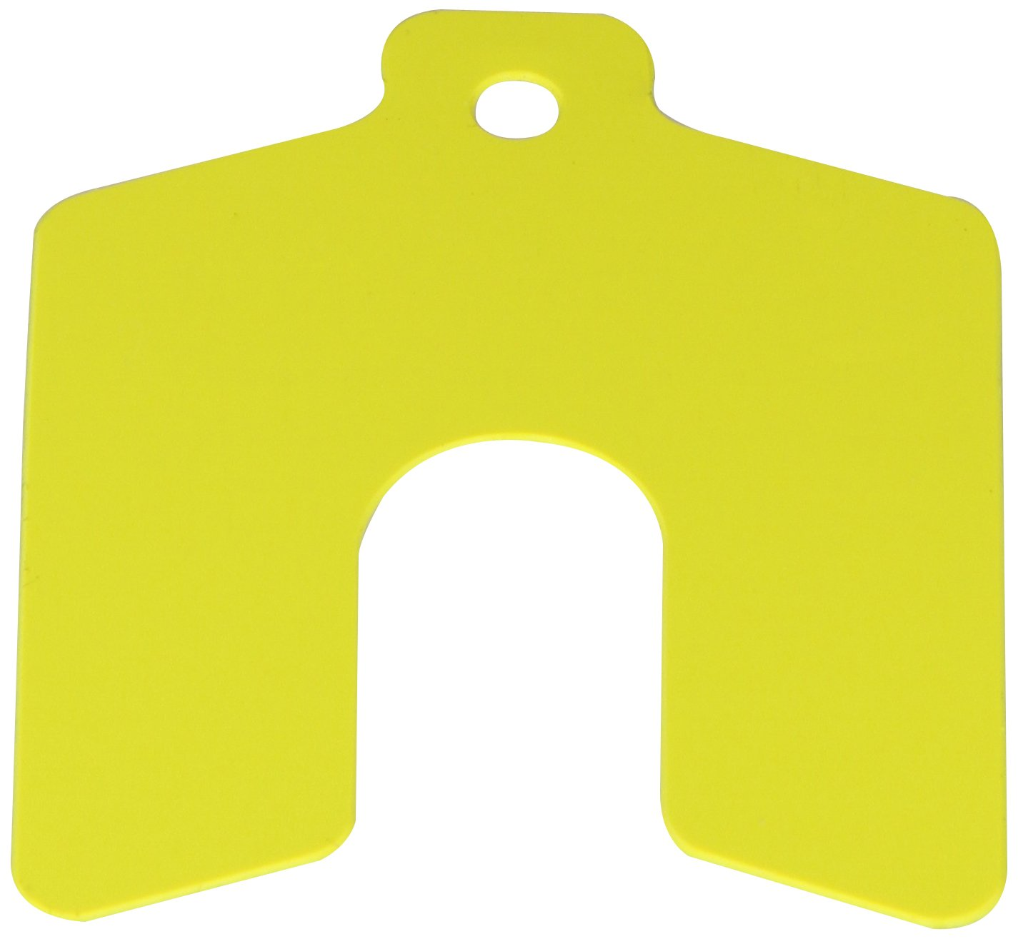 PVC (Polyvinyl Chloride) Slotted Shim, Yellow, 0.020'' Thickness, 2'' Width, 2'' Length, 0.625'' Slot Width (Pack of 20) by Small Parts