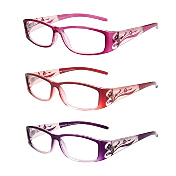 7a8ed5065ae0 LianSan 3 Pack Stylish Ladies Readers Cute Reading Glasses for Women Pink  Purple Red +1.00