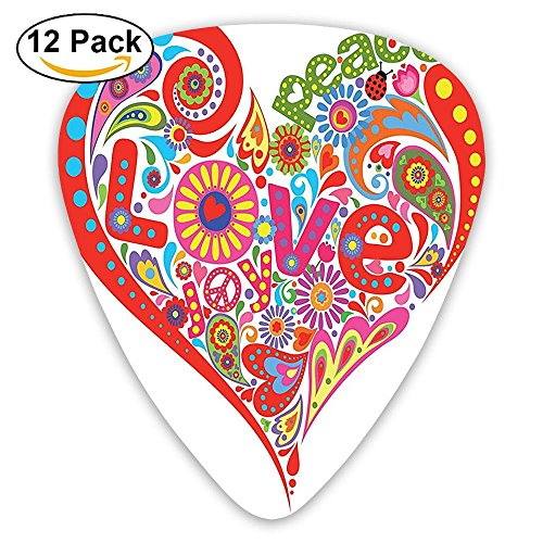 art Shape With Colorful Flowers Butterfly Springtime Happy Days Guitar Picks 12/Pack Set ()