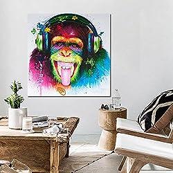 Sykdybz Ningún Cuadro Minimalista Moderno Salón Decorado Con Pinturas Abstractas Animal Orangután Hyun Corredor Gateway,30*30Cm.