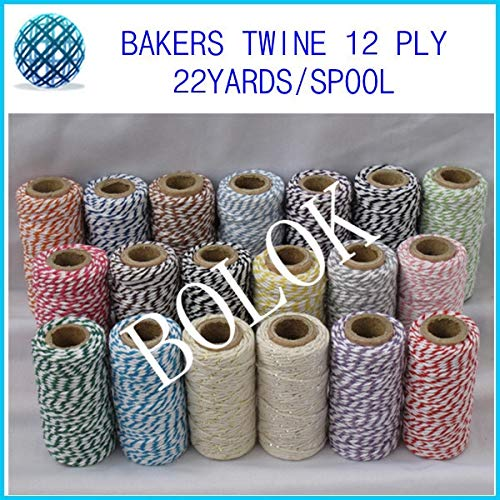 FINCOS 20 Kinds Color Double Color Cotton Bakers Twine (22yards/Spool)(28pcs/Lot) for Gift Packing
