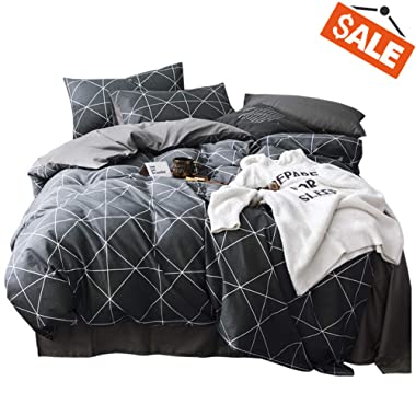 VClife Queen Black-Gray Duvet Cover Sets Modern Plaid Geometric Printed Bedding Sets - 100% Cotton Boy Man Comforter Cover Sets, Luxurious Soft, Wrinkle, Fade, Stain Resistant, 90 x90 , Queen