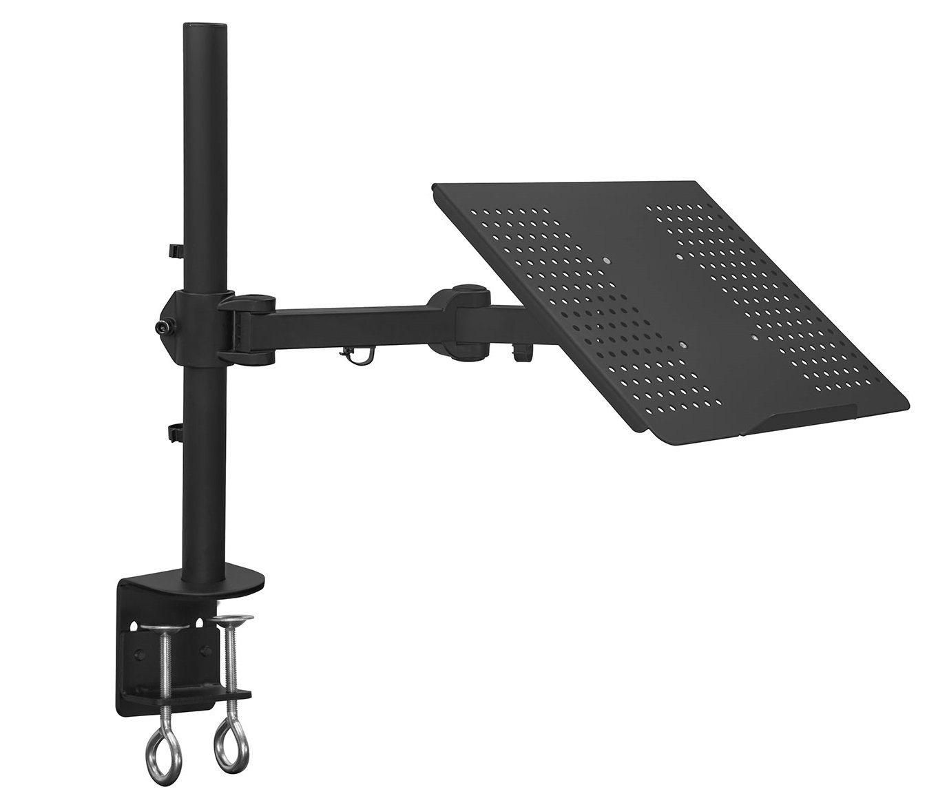 Mount-It! Laptop Notebook Desk Mount Stand with Full Motion Height Adjustable Holder, Articulating Vented Cooling Platform, Fits Up to 17 Inch Computers, Clamp Mounting, 22 Lb Capacity Black (MI-3352LT) by Mount-It!