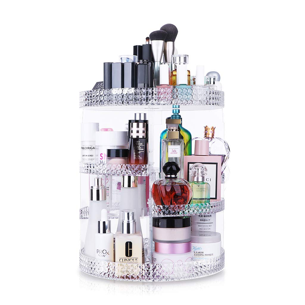 Awenia 360° Rotating Cosmetic Organizer Acrylic Makeup Storage Box 7 layers Adjustable Multifunctional Stand Box for Dresser, Bedroom, Bathroom
