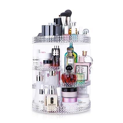 Awenia Organizador de Maquillaje Almacenamiento para Cosméticos Caja Giratoria Almacenaje Maquillajes 360 Grados de Rotación con