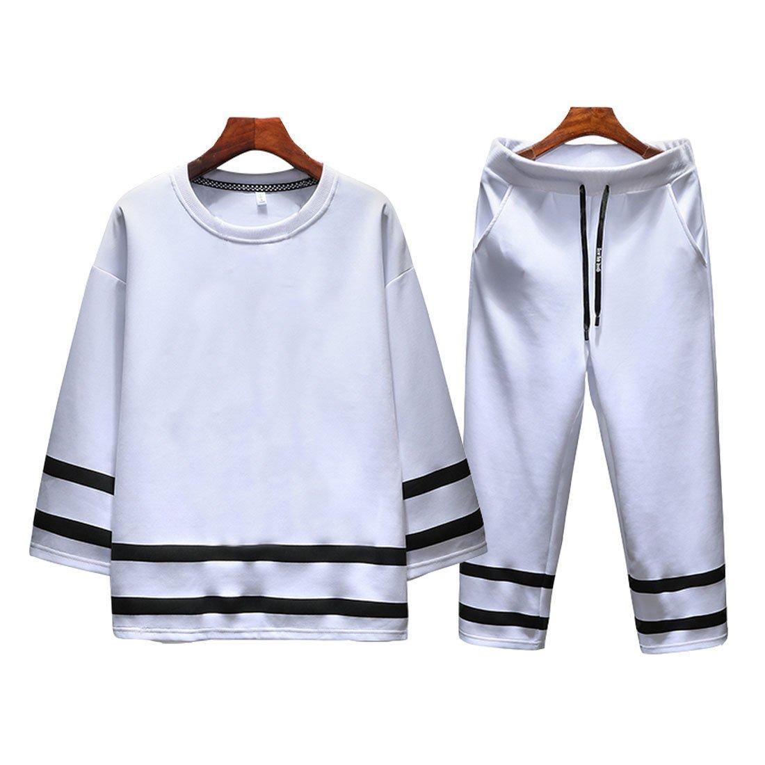 Hzcx Fashion Men's Summer Pullover Stripped Casual 2PCS Sets T Shirts and Pants DSA118-B1118-55-W-US M TAG XL