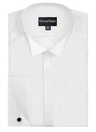 "8042e86490d0 Mens White Wing Collar Extra Long Sleeve Formal Dress Wedding Shirt  (15"")"
