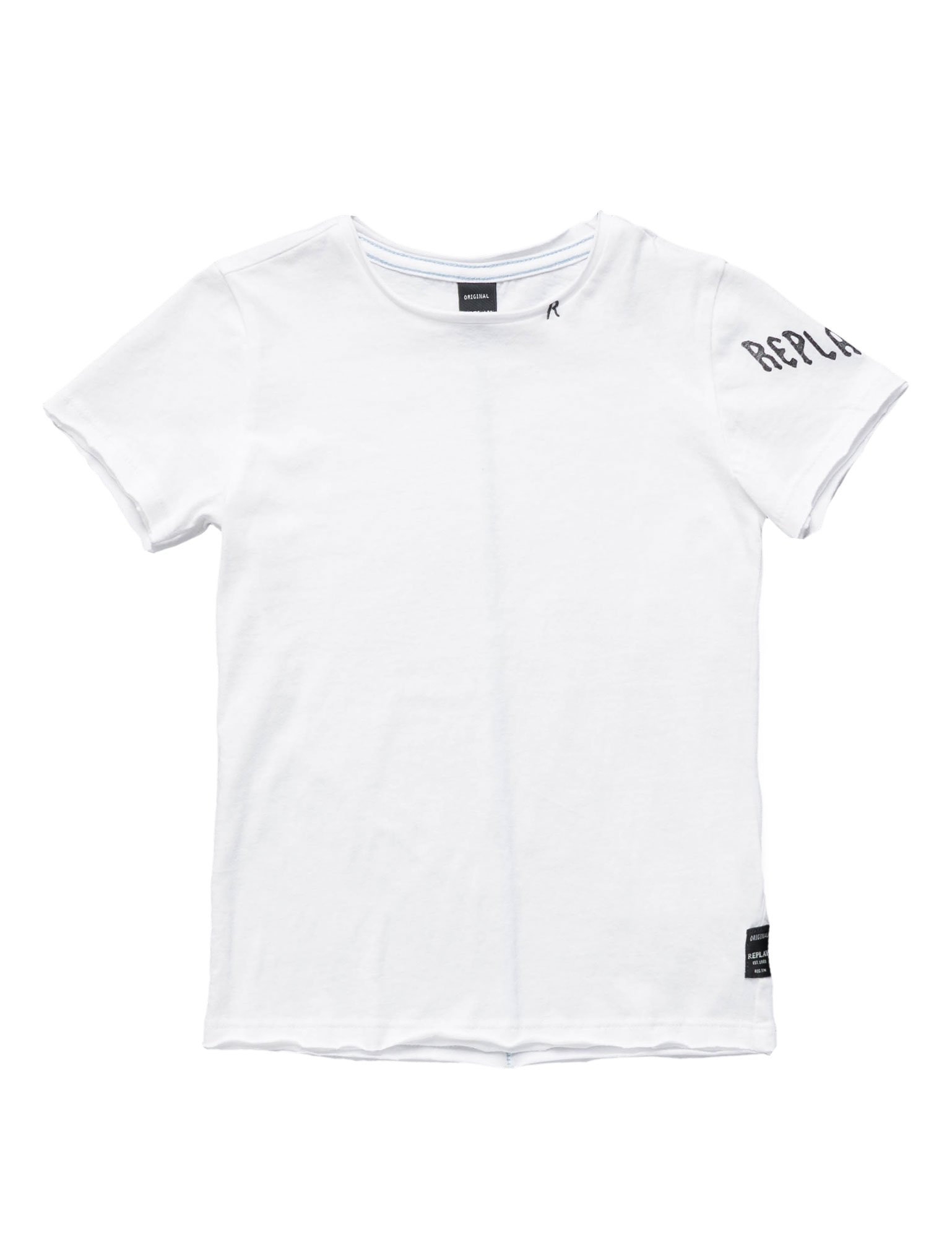 Replay Raw-Edge Jersey Boy's T-Shirt In White In Size 10 Years White