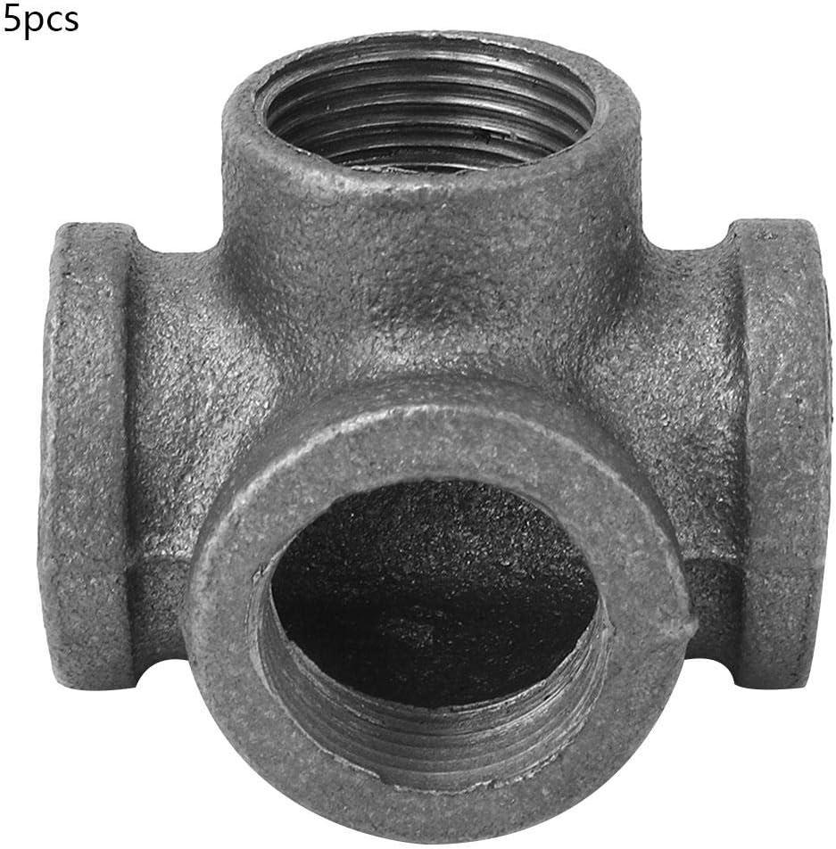 1 5pcs 4 voies raccord de tuyau en fonte mall/éable noir sortie lat/érale t/é connecteur de tube femelle pour bricolage d/écor