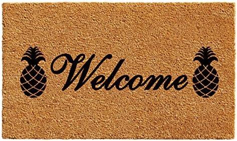 Calloway Mills 102502436 Welcome Pineapples Doormat, 24 x 36 , Natural Black