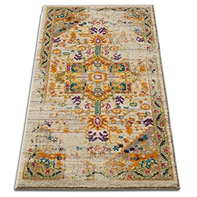 """Vintage Heriz Floral Medallion Traditional Multi Color Beige Fuscia Orange Yellow 2x4 (2'3"""" x 3'11"""") Area Rug - Thick, plush 0.5"""" pile height. 100% polypropylene power loomed in Turkey. Stain resistant and fade resistant. 100% jute backing is safe for wood floors. Extremely durable and very easy to clean, made to last for years. Traditional, floral, Oriental design with contemporary colors to match the modern space. Color: Marigold orange, bright yellow, light blue, fuchsia pink, wine purple, ivory, and light grey - runner-rugs, entryway-furniture-decor, entryway-laundry-room - 61vcoiPPx L. SS400  -"""