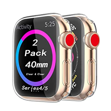 Cerike Compatible Apple Watch Series 4 Protector de Pantalla, Funda Protectora Suave y Completa para iWatch 4 Apple Watch Serie 4 Smartwatch (40MM, ...