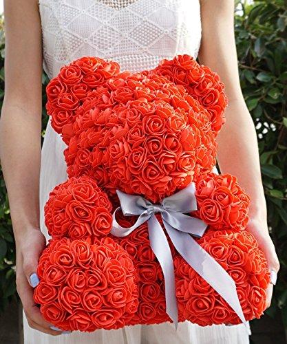 Faux Roses Teddy Bear, Forever Flowers Rose Teddy Bear Figurine, Eternal Roses Flower Teddy Bear by Baubles N Gems