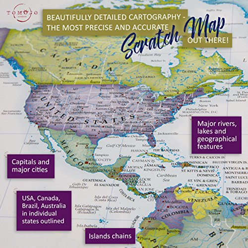 Scratch off world map poster beautifully detailed cartography w zoom images gumiabroncs Choice Image
