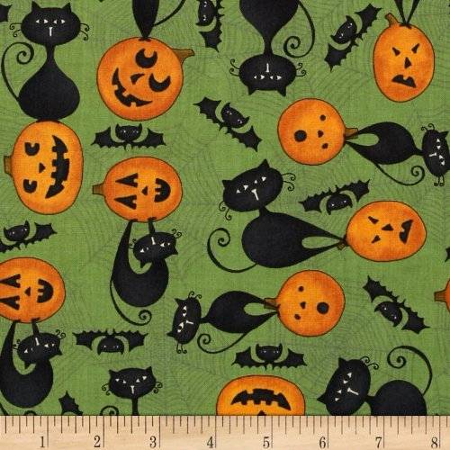 Cat Fabric - Scaredy Cats - Green - Halloween - 100% Cotton - By The Yard (Wilmington Halloween)