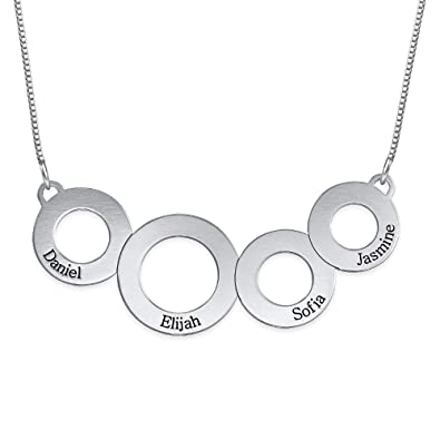 08598bd75b81a Image Unavailable. Image not available for. Color  Personalized Engraved  Circles Necklace in Sterling Silver – Gift ...