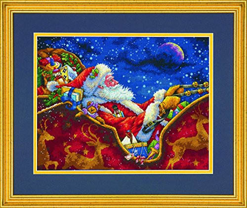 Dimensions Gold Collection Counted Cross Stitch 'Santa's Midnight Ride' Christmas Cross Stitch Kit, 18 Count Navy Aida, 14'' x 11'' (Dimensions Gold Holiday)