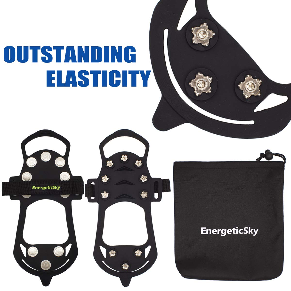 EnergeticSky Ice Cleat Spikes Crampons and Tread for Snow,Ice,Attaches Over Shoes//Boots for Everyday Safety in Winter,Outdoor,Slippery Terrain.