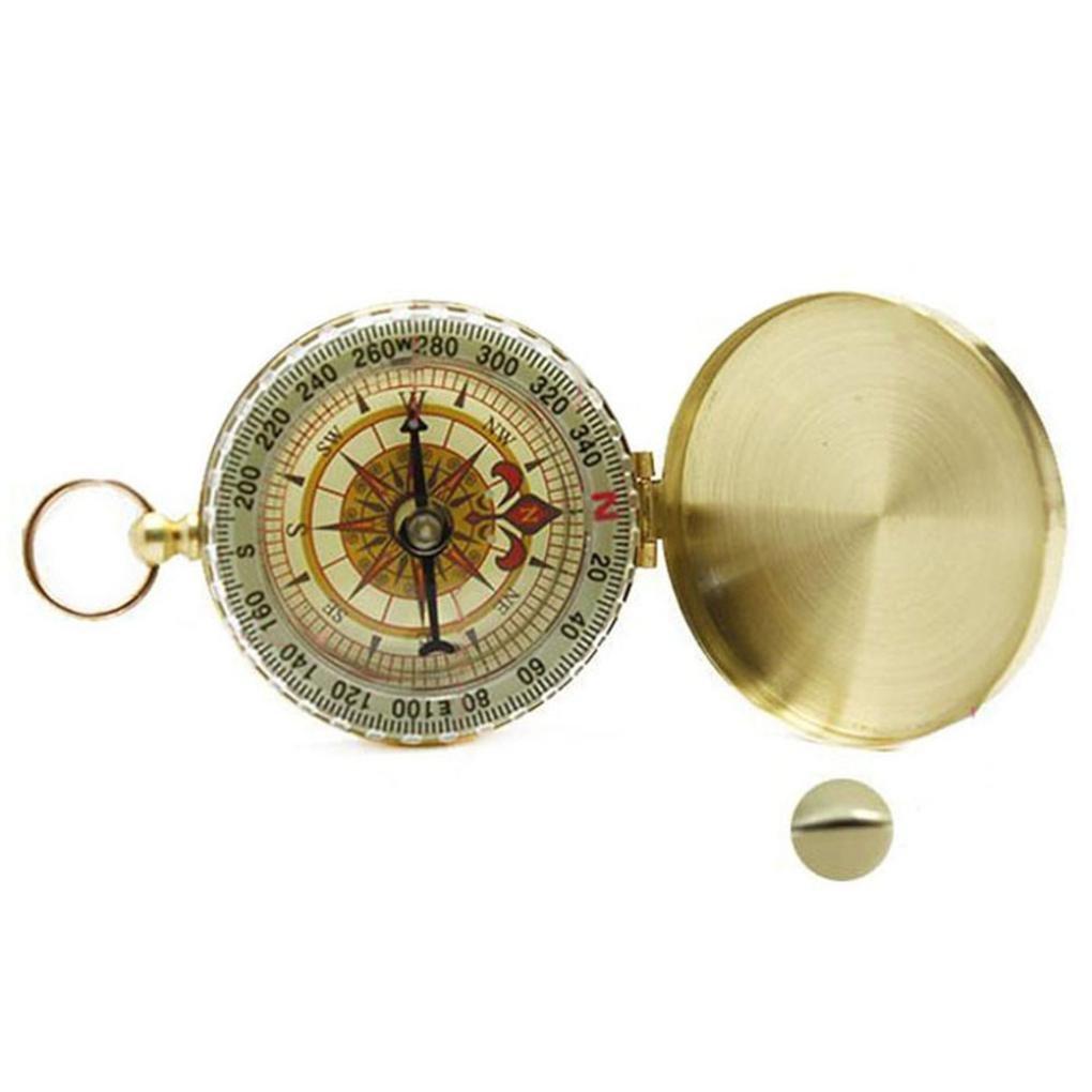 Creazy真鍮ポケット時計スタイルアウトドアキャンプハイキングコンパスナビゲーションキーチェーン B071KKVDJ3