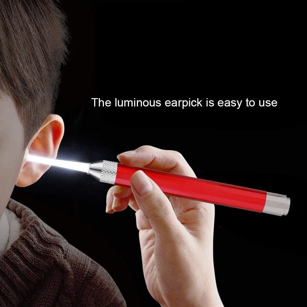 Socialme-eu Retrait de cire en acier inoxydable Pince lumineuse durable S/élection des oreilles pour b/éb/é enfant Kit de nettoyage des oreilles bleu