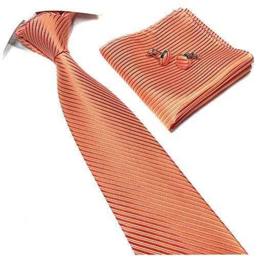 (Tangerine Orange Silk Tie Fall Formal Dress Necktie Decent Holiday Gifts for Men)
